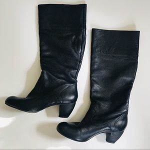 Matisse Leather Tall Boots Sz 9 Black Pebbled